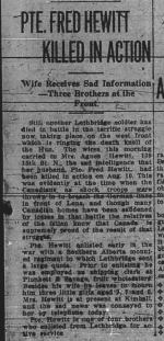 Newspaper Clipping– THE LETHRIDGE DAILY HERALD SATURDAY AUGUST 31 1915