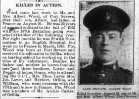 Newspaper clipping– Orillia Times, 05 Sep 1918 and 12 Sep 1918