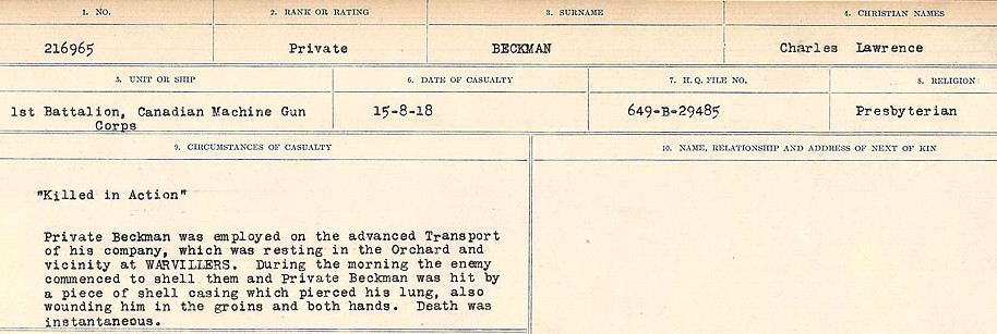 Circumstances of Death Registers– Source: Library and Archives Canada.  CIRCUMSTANCES OF DEATH REGISTERS FIRST WORLD WAR Surnames:  Bea to Belisle. Mircoform Sequence 7; Volume Number 31829_B016717. Reference RG150, 1992-93/314, 151.  Page 461 of 724.