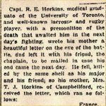 Press Clipping– Letter describing the deaths of Second Lieutenant Robert Gordon Hamilton and his close friend Captain Richard Earl Horkins.  Both were killed by the same shell.