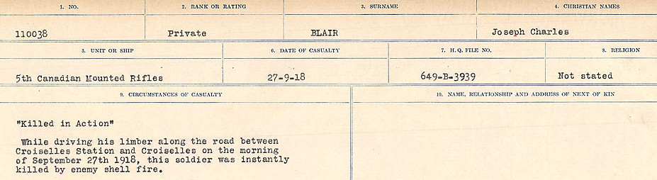 Circumstances of Death Registers– Source: Library and Archives Canada.  CIRCUMSTANCES OF DEATH REGISTERS FIRST WORLD WAR Surnames: Birch to Blakstad. Mircoform Sequence 10; Volume Number 31829_B034746; Reference RG150, 1992-93/314, 154 Page 613 of 734