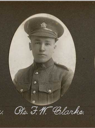 Photo of FREDERICK WILLIAM CLARKE– In memory of the employees of the T. Eaton Company that went to war and did not come home.  Submitted for the project, Operation: Picture Me
