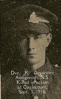 Photo of Robert Devaney– From the book, Catholics of the Diocese of Antigonish, Nova Scotia and the Great War 1914- 1919.
