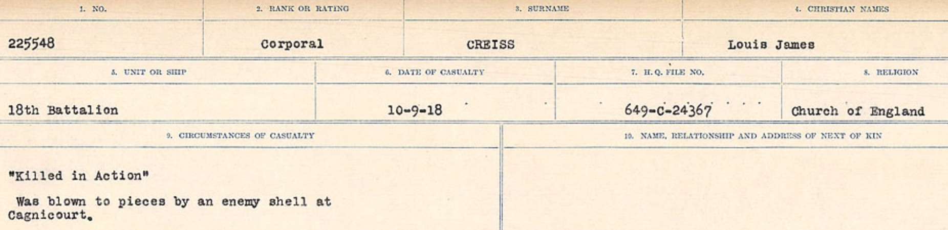 Circumstances of death registers– Source: Library and Archives Canada. CIRCUMSTANCES OF DEATH REGISTERS, FIRST WORLD WAR Surnames: CRABB TO CROSSLAND Microform Sequence 24; Volume Number 31829_B016733. Reference RG150, 1992-93/314, 168. Page 467 of 788.