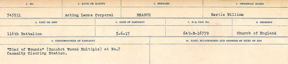 Circumstances of Death Registers– Source: Library and Archives Canada.  CIRCUMSTANCES OF DEATH REGISTERS FIRST WORLD WAR Surnames: Brabant to Britton. Mircoform Sequence 13; Volume Number 131829_B016722; Reference RG150, 1992-93/314, 157 Page 243 of 906