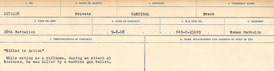 Circumstances of Death Registers– Source: Library and Archives Canada.  CIRCUMSTANCES OF DEATH REGISTERS, FIRST WORLD WAR Surnames:  Canavan to Caswell. Microform Sequence 18; Volume Number 31829_B016727. Reference RG150, 1992-93/314, 162.  Page 155 of 1004.