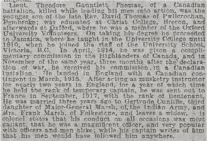 Newspaper clipping– From the Daily Telegraph of August 28, 1918. Image taken from web address of https://www.telegraph.co.uk/news/ww1-archive/12215483/Daily-Telegraph-August-28-1918.html