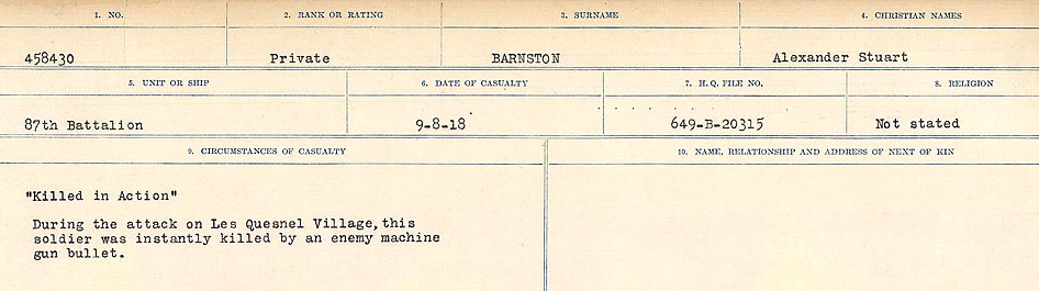 Circumstances of Death– Source: Library and Archives Canada.  CIRCUMSTANCES OF DEATH REGISTERS, FIRST WORLD WAR Surnames:  Bark to Bazinet. Mircoform Sequence 6; Volume Number 31829_B016716. Reference RG150, 1992-93/314, 150.  Page 315 of 1058.