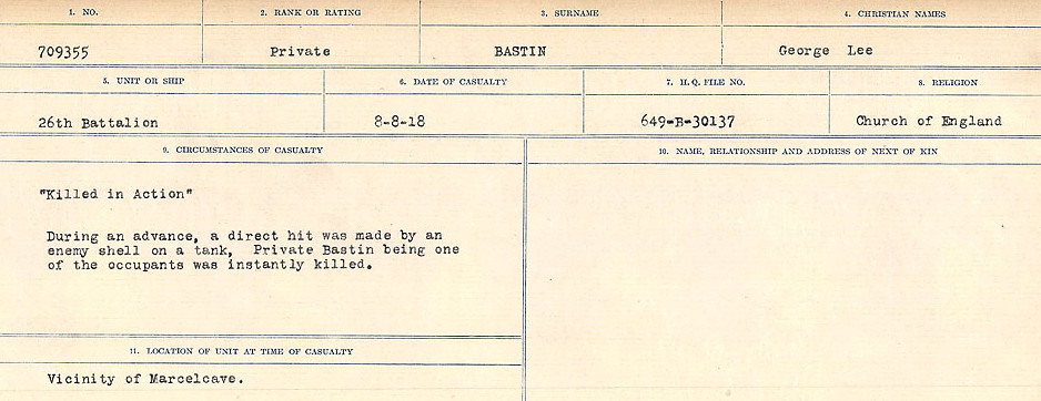 Circumstances of Death– Source: Library and Archives Canada.  CIRCUMSTANCES OF DEATH REGISTERS, FIRST WORLD WAR Surnames:  Bark to Bazinet. Mircoform Sequence 6; Volume Number 31829_B016716. Reference RG150, 1992-93/314, 150.  Page 751 of 1058.