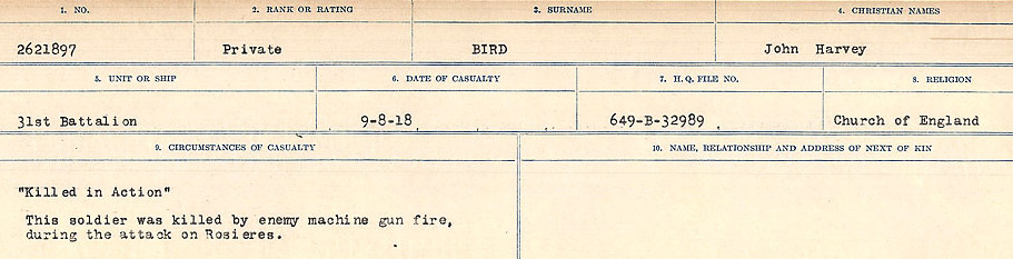 Circumstances of Death Registers– Source: Library and Archives Canada.  CIRCUMSTANCES OF DEATH REGISTERS FIRST WORLD WAR Surnames: Birch to Blakstad. Mircoform Sequence 10; Volume Number 31829_B034746; Reference RG150, 1992-93/314, 154 Page 67 of 734