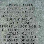 Inscription– WWI - Detail of names carved upon the Burlington War Memorial.