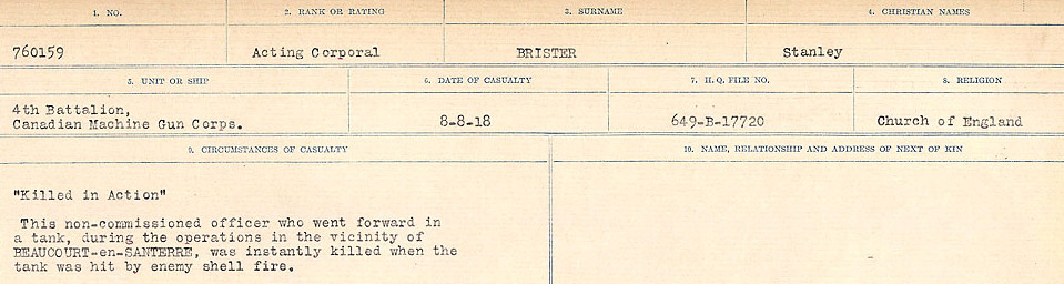 Circumstances of Death Registers– Source: Library and Archives Canada.  CIRCUMSTANCES OF DEATH REGISTERS FIRST WORLD WAR Surnames: Brabant to Britton. Mircoform Sequence 13; Volume Number 131829_B016722; Reference RG150, 1992-93/314, 157 Page 843 of 906