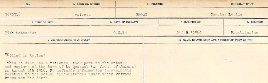 Circumstances of Death Registers– Source: Library and Archives Canada.  CIRCUMSTANCES OF DEATH REGISTERS FIRST WORLD WAR Surnames: Broad to Broyak. Mircoform Sequence 14; Volume Number 31829_B016723; Reference RG150, 1992-93/314, 158 Page 459 of 1128