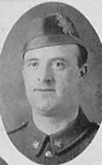 """Photo of Daniel Burchell– Photo taken from """"A Short History and Photographic Record of the 73rd Battalion, Canadian Expeditionary Force, Royal Highlanders of Canada"""" Page 42.  'D' Company.  No. 16 Platoon."""