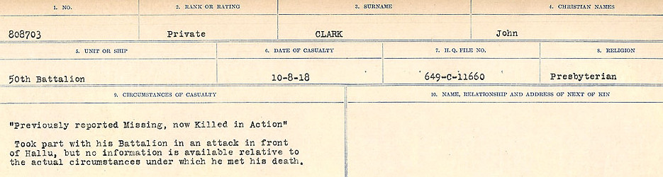 Circumstances of Death Registers– Source: Library and Archives Canada.  CIRCUMSTANCES OF DEATH REGISTERS, FIRST WORLD WAR Surnames:  CHILD TO CLAYTON.  Microform Sequence 20; Volume Number 31829_B016729. Reference RG150, 1992-93/314, 164.  Page 621 of 1068.