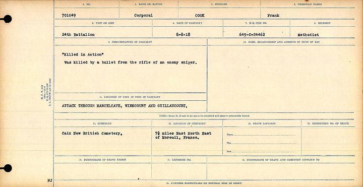 Circumstances of Death Registers– 701049, Pte Frank Cook, Circumstances of Death Card