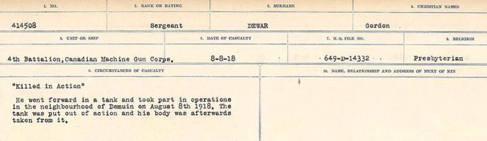 Circumstances of death registers– Source: Library and Archives Canada. CIRCUMSTANCES OF DEATH REGISTERS, FIRST WORLD WAR. Surnames: Deuel to Domoney. Microform Sequence 28; Volume Number 31829_B016737. Reference RG150, 1992-93/314, 172. Page 127 of 1084. Buried in Fresnoy British Cemetery, 4 ¾ miles East of Moreuil. After the Armistice, his body was exhumed and buried in CAIX BRITISH CEMETERY.