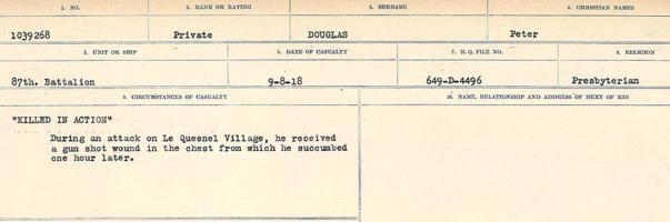 """Circumstances of death registers– Source: Library and Archives Canada. CIRCUMSTANCES OF DEATH REGISTERS, FIRST WORLD WAR. Surnames: Don to Drzewiecki. Microform Sequence 29; Volume Number 31829_B016738. Reference RG150, 1992-93/314, 173. Page 507 of 1076.  He was buried """"near North West corner of wood marked by posts and corners"""". After the Armistice, his body was exhumed and buried in CAIX BRITISH CEMETERY."""