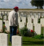 Photo of Paul Egan– Paul Egan, Nephew of Stan visiting grave site for the first time.