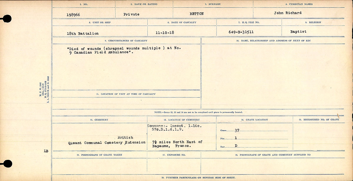 """Circumstances of Death Registers– """"Died of wounds (shrapnel wounds multiple) at No. 9 Canadian Field Ambulance. Contributed by E.Edwards www.18thbattalioncef.wordpress.com"""