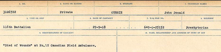Circumstances of death registers– Source: Library and Archives Canada. CIRCUMSTANCES OF DEATH REGISTERS, FIRST WORLD WAR Surnames: Crossley to Cyrs. Microform Sequence 25; Volume Number 31829_B016734. Reference RG150, 1992-93/314, 169. Page 639 of 890.