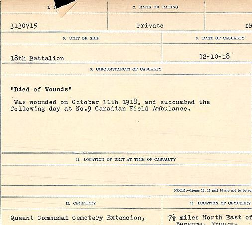 """Circumstances of death registers– """"Died of Wounds"""" Was wounded on October 11, 1918, and succumbed the following day at No. 9 Canadian Field Ambulance.  Contributed by E.Edwards www.18thbattalioncef.wordpress.com"""
