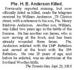 Press Clipping– Pte. Henry Baldwin Anderson enlisted in Toronto on January 12th 1916.