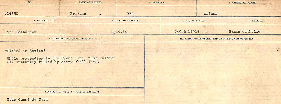 Circumstances of Death– Source: Library and Archives Canada.  CIRCUMSTANCES OF DEATH REGISTERS FIRST WORLD WAR Surnames:  Bea to Belisle  Mircoform Sequence 7; Volume Number 31829_B016717. Reference RG150, 1992-93/314, 151.  Page 1 of 724.