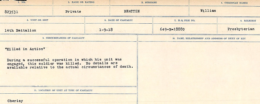 Circumstances of Death– Source: Library and Archives Canada.  CIRCUMSTANCES OF DEATH REGISTERS FIRST WORLD WAR Surnames:  Bea to Belisle. Mircoform Sequence 7; Volume Number 31829_B016717. Reference RG150, 1992-93/314, 151.  Page 239 of 724.
