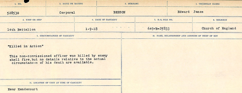 Circumstances of Death Registers– Source: Library and Archives Canada.  CIRCUMSTANCES OF DEATH REGISTERS FIRST WORLD WAR Surnames:  Bea to Belisle. Mircoform Sequence 7; Volume Number 31829_B016717. Reference RG150, 1992-93/314, 151.  Page 575 of 724.