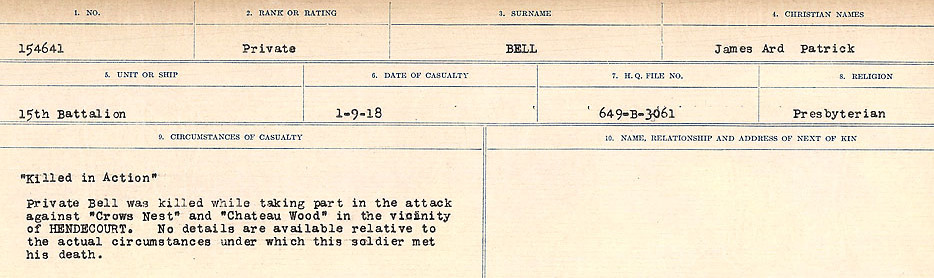 Circumstances of Death– Source: Library and Archives Canada.  CIRCUMSTANCES OF DEATH REGISTERS FIRST WORLD WAR Surnames: Bernard to Binyan. Mircoform Sequence 8; Volume Number 31829_B016718; Reference RG150, 1992-93/314, 152 Page 101 of 670