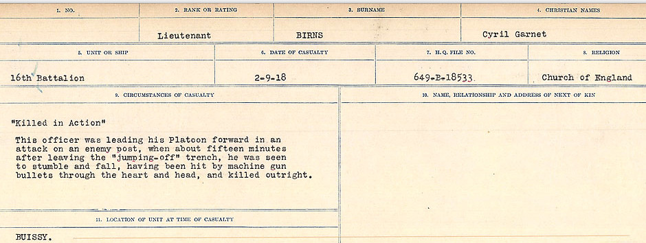 Circumstances of Death Registers– Source: Library and Archives Canada.  CIRCUMSTANCES OF DEATH REGISTERS FIRST WORLD WAR Surnames: Birch to Blakstad. Mircoform Sequence 10; Volume Number 31829_B034746; Reference RG150, 1992-93/314, 154 Page 131 of 734