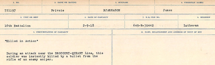 Circumstances of Death Registers– Source: Library and Archives Canada.  CIRCUMSTANCES OF DEATH REGISTERS FIRST WORLD WAR Surnames: Birch to Blakstad. Mircoform Sequence 10; Volume Number 31829_B034746; Reference RG150, 1992-93/314, 154 Page 291 of 734