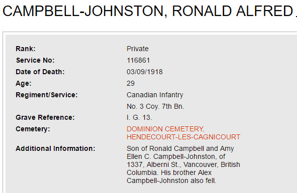 Photo of ALEX CAMPBELL-JOHNSTON– Private Ronald Alfred Campbell-Johnston, the older brother of Lieutenant Alex Campbell-Johnston was killed in action on September 3, 1918, the day after his younger brother was killed. They are both buried in DOMINION CEMETERY, HENDECOURT-LES-CAGNICOUR, in graves I. G. 13, and I. C. 25, respectively. Source: The Commonwealth War Graves Commission.