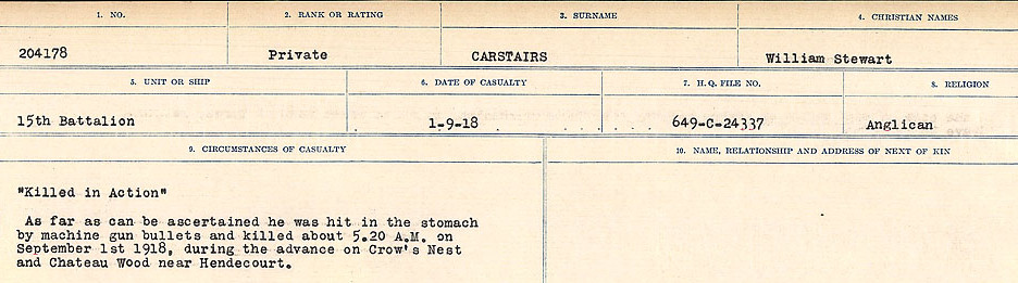Circumstances of Death Registers, First World War– Source: Library and Archives Canada.  CIRCUMSTANCES OF DEATH REGISTERS, FIRST WORLD WAR Surnames:  Canavan to Caswell. Microform Sequence 18; Volume Number 31829_B016727. Reference RG150, 1992-93/314, 162.  Page 639 of 1004.