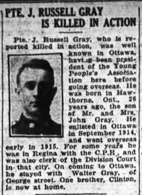 Newspaper Clipping– FROM: The Ottawa Journal, 07 October 1918, Page 2