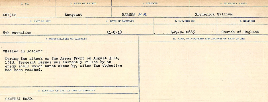 Circumstances of Death– Source: Library and Archives Canada.  CIRCUMSTANCES OF DEATH REGISTERS, FIRST WORLD WAR Surnames:  Bark to Bazinet. Mircoform Sequence 6; Volume Number 31829_B016716. Reference RG150, 1992-93/314, 150.  Page 197 of 1058.