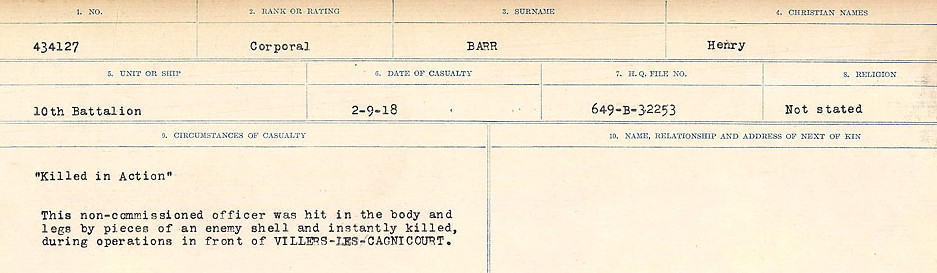 Circumstances of Death– Source: Library and Archives Canada.  CIRCUMSTANCES OF DEATH REGISTERS, FIRST WORLD WAR Surnames:  Bark to Bazinet. Mircoform Sequence 6; Volume Number 31829_B016716. Reference RG150, 1992-93/314, 150.  Page 347 of 1058.