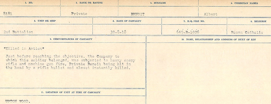 Circumstances of Death– Source: Library and Archives Canada.  CIRCUMSTANCES OF DEATH REGISTERS FIRST WORLD WAR Surnames:  Bell to Bernaquez.  Mircoform Sequence 8; Volume Number 31829_B016718; Reference RG150, 1992-93/314, 152 Page 529 of 670