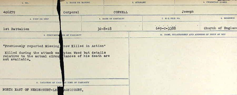 Circumstances of Death Registers– Source: Library and Archives Canada.  CIRCUMSTANCES OF DEATH REGISTERS, FIRST WORLD WAR Surnames:  CONNON TO CORBETT.  Microform Sequence 22; Volume Number 31829_B016731. Reference RG150, 1992-93/314, 166.  Page 747 of 818.