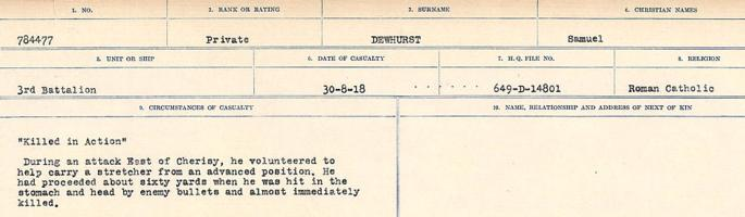 Circumstances of death registers– Source: Library and Archives Canada. CIRCUMSTANCES OF DEATH REGISTERS, FIRST WORLD WAR. Surnames: Deuel to Domoney. Microform Sequence 28; Volume Number 31829_B016737. Reference RG150, 1992-93/314, 172. Page 165 of 1084.