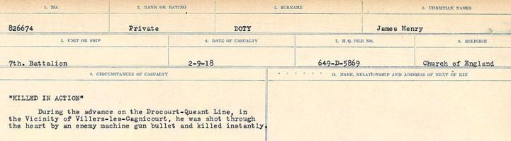 Circumstances of death registers– Source: Library and Archives Canada. CIRCUMSTANCES OF DEATH REGISTERS, FIRST WORLD WAR. Surnames: Don to Drzewiecki. Microform Sequence 29; Volume Number 31829_B016738. Reference RG150, 1992-93/314, 173. Page 327 of 1076.