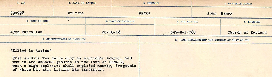 Circumstances of Death Registers– Source: Library and Archives Canada.  CIRCUMSTANCES OF DEATH REGISTERS FIRST WORLD WAR Surnames:  Bea to Belisle. Mircoform Sequence 7; Volume Number 31829_B016717. Reference RG150, 1992-93/314, 151.  Page 129 of 724.