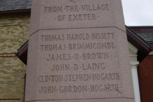 Cenotaph– Private Thomas Alexander Brimacombe is also commemorated on the cenotaph in Exeter, ON … photo courtesy of Marg Liessens
