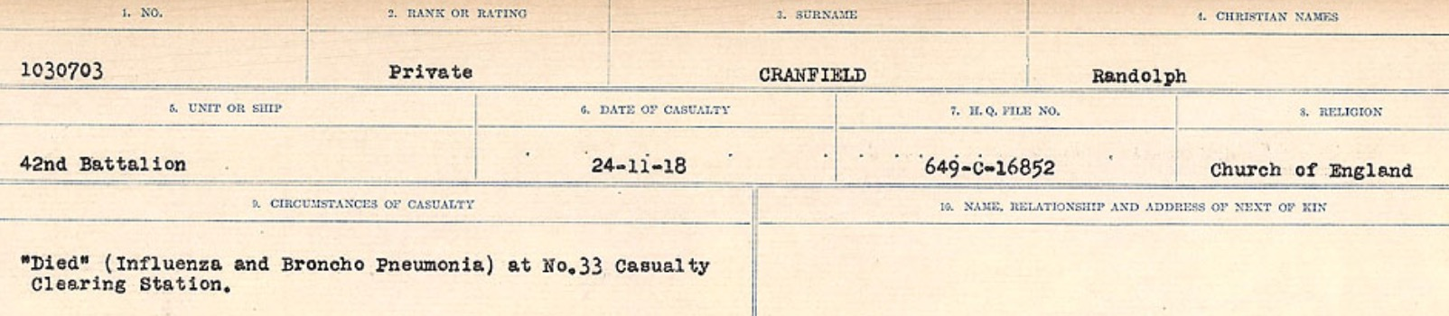 Circumstances of death registers– Source: Library and Archives Canada. CIRCUMSTANCES OF DEATH REGISTERS, FIRST WORLD WAR Surnames: CRABB TO CROSSLAND Microform Sequence 24; Volume Number 31829_B016733. Reference RG150, 1992-93/314, 168. Page 251 of 788.