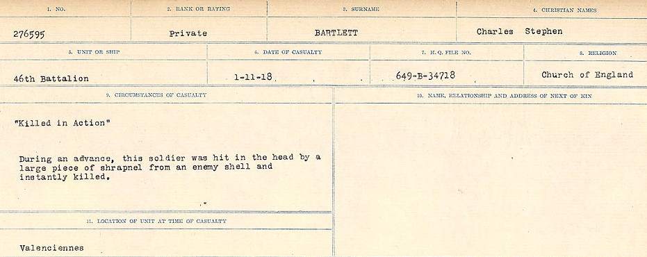 Circumstances of Death– Source: Library and Archives Canada.  CIRCUMSTANCES OF DEATH REGISTERS, FIRST WORLD WAR Surnames:  Bark to Bazinet. Mircoform Sequence 6; Volume Number 31829_B016716. Reference RG150, 1992-93/314, 150.  Page 591 of 1058.