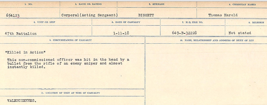 Circumstances of Death Registers– Source: Library and Archives Canada.  CIRCUMSTANCES OF DEATH REGISTERS FIRST WORLD WAR Surnames: Birch to Blakstad. Mircoform Sequence 10; Volume Number 31829_B034746; Reference RG150, 1992-93/314, 154 Page 271 of 734