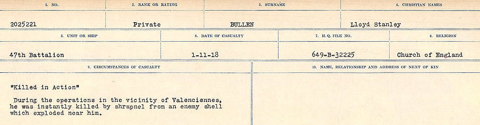 Circumstances of Death Registers– Source: Library and Archives Canada.  CIRCUMSTANCES OF DEATH REGISTERS FIRST WORLD WAR Surnames: Brubacher to Bunyan. Mircoform Sequence 15; Volume Number 31829_B016724; Reference RG150, 1992-93/314, 159 Page 539 of 668