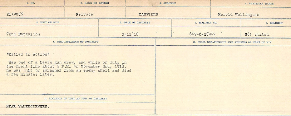 Circumstances of Death Registers– Source: Library and Archives Canada.  CIRCUMSTANCES OF DEATH REGISTERS, FIRST WORLD WAR Surnames:  Canavan to Caswell. Microform Sequence 18; Volume Number 31829_B016727. Reference RG150, 1992-93/314, 162.  Page 17 of 1004.