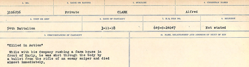Circumstances of Death Registers– Source: Library and Archives Canada.  CIRCUMSTANCES OF DEATH REGISTERS, FIRST WORLD WAR Surnames:  CHILD TO CLAYTON.  Microform Sequence 20; Volume Number 31829_B016729. Reference RG150, 1992-93/314, 164.  Page of 461 of 1068.